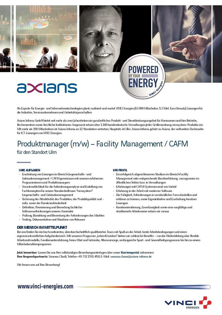 Produktmanager Facility Management Axians Infoma