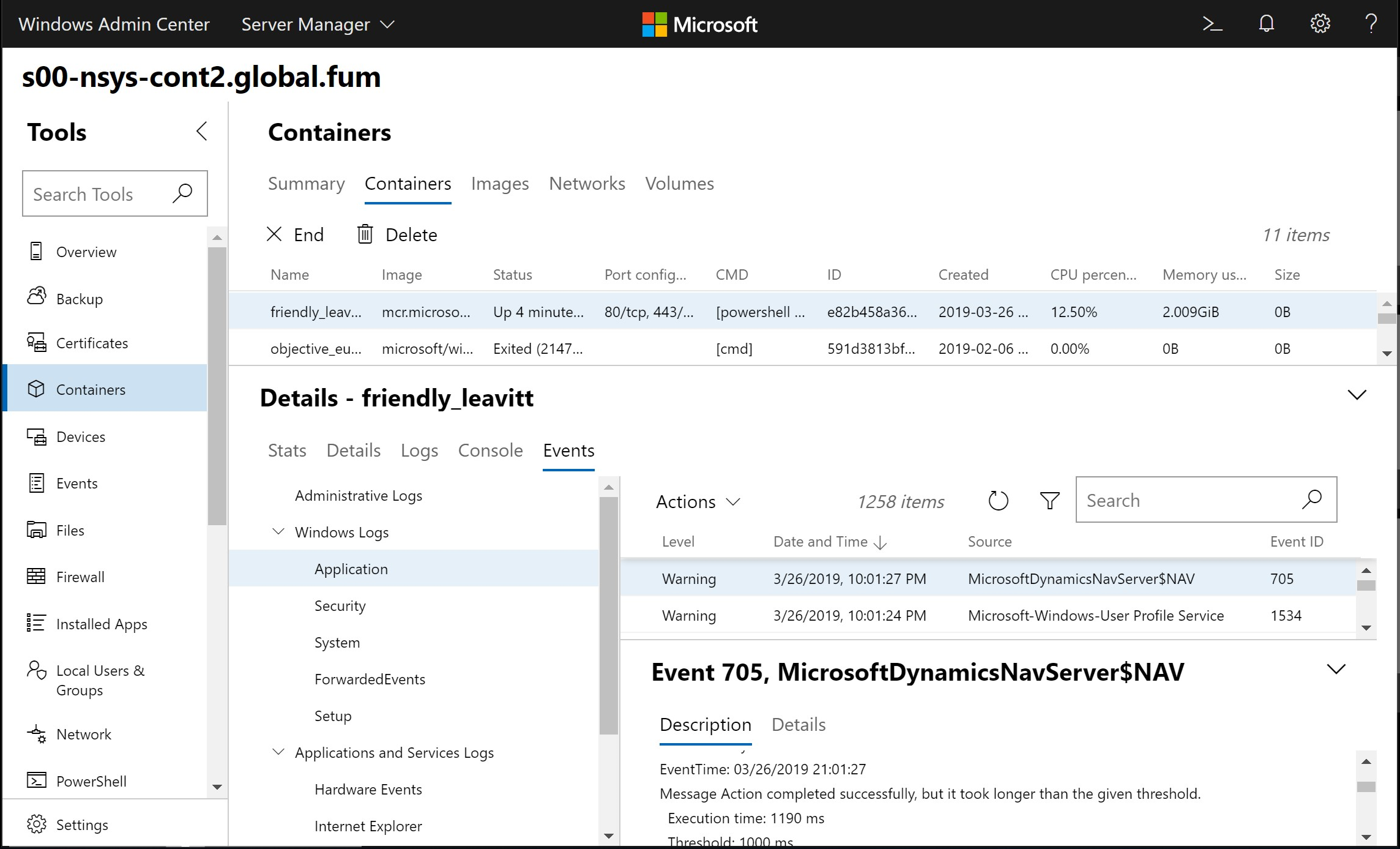 Using the Container extension for Windows Admin Center - Axians Infoma